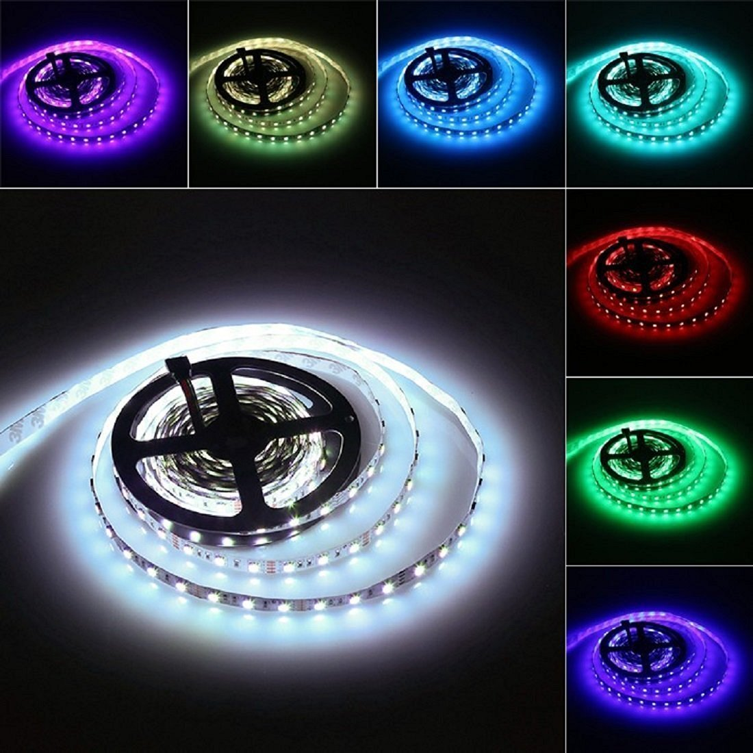 5M 5050 SMD 300 Leds RGB LED Strip Lights,12V Flexible LED Tape, Multi-colors, 300 LEDs, Non-waterproof, Light Strips, Color Changing, Pack of 16.4ft/5m Strips (non-waterproof, 5M 60Led/M)
