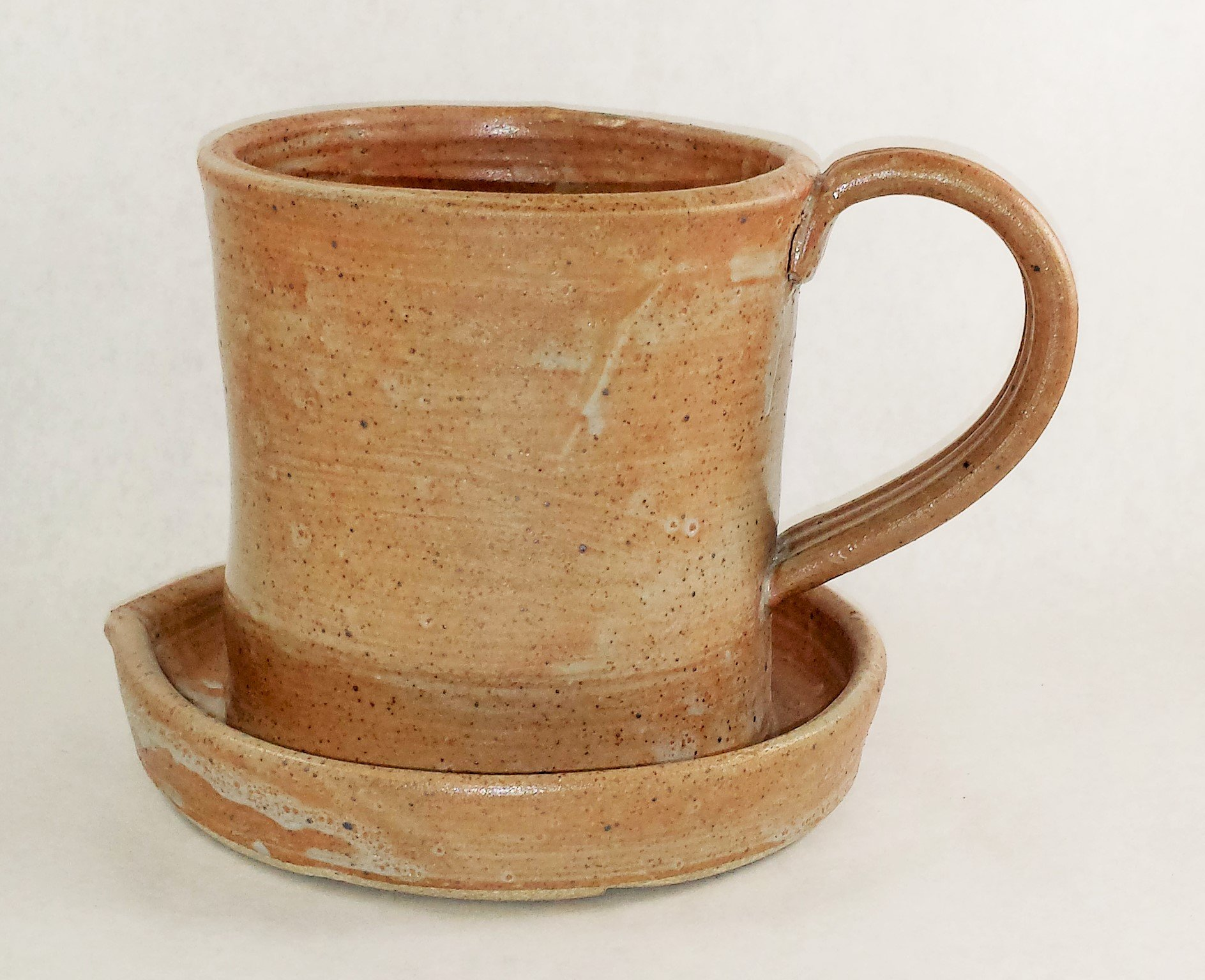 Aunt Chris' Pottery - Heavy Hand Made - Clay Bacon Cooker - Unique New Way of Cooking Bacon - Primitive Nude Color Glazed