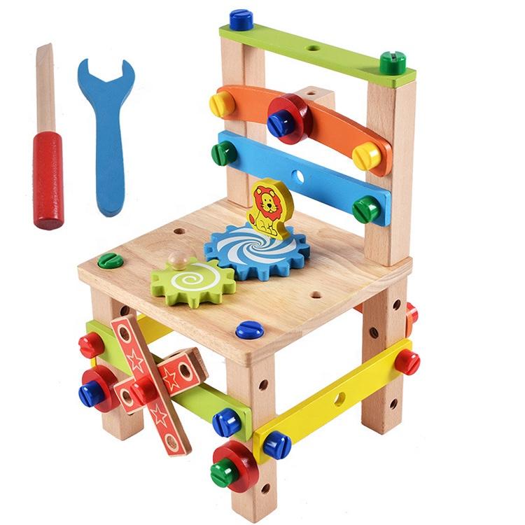 kids pretend toys Wholesale Kids Wooden DIY Nut Screws Tools Assemble wooden chair toy