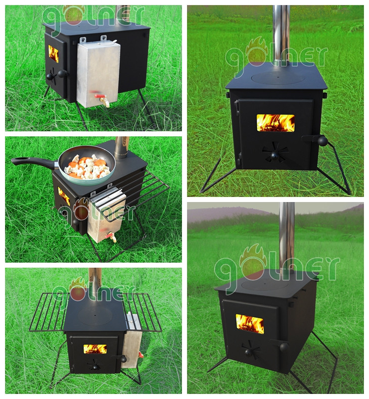 C 11 portable camping stove outdoor wood cook stove water for Outdoor wood cooking stove