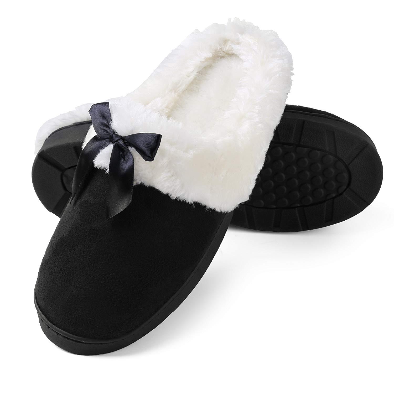 Aerusi Women's Micro Suede Plush Fleece Lined Memory Foam Slip on Clog Houser Slipper