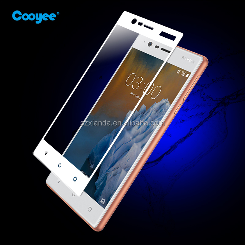 Best price! full cover colorful silkprint tempered glass screen protector for Nokia 3
