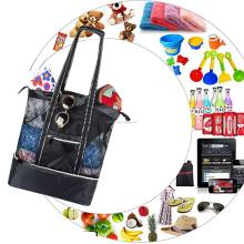 (High) 저 (quality Multi-purpose Black Portable Outdoor 된 벤치와 절연 백 Grid 여행 옷 Storage Bag Mesh Beach Tote Bag