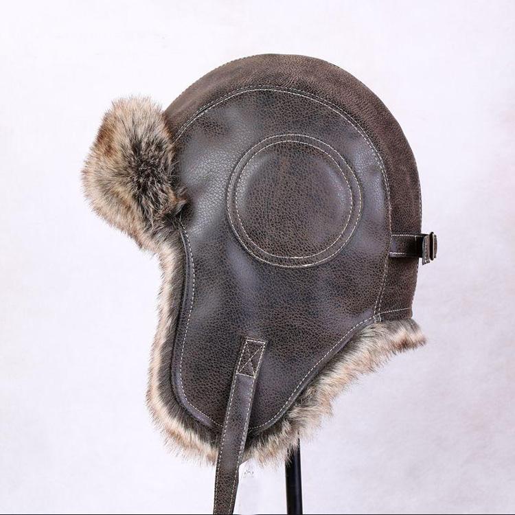 Men Brown Leather Aviator Hat Winter Leather Bomber Hat - Buy ... ab968f1af20