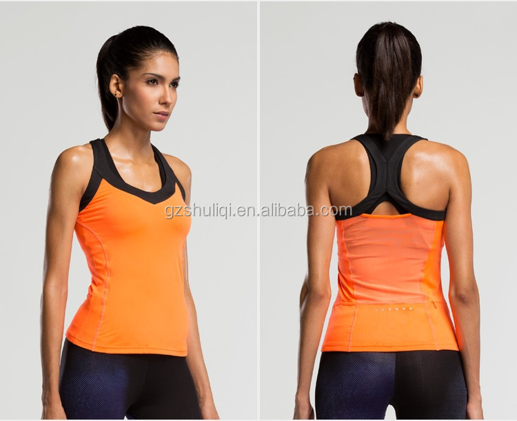 2016 wholesale women workout mesh material patchwork design Tank Top