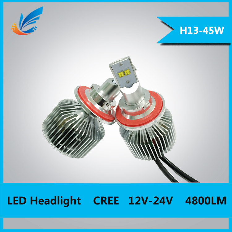 Powerfull 45w car light with fan h13 3000lm led headlight for car