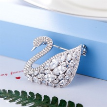 SJYP11.2-13 Swan Shape Brooch White Gold Plated 925 Sterling Silver AAA Cubic Zirconia Fashion Women Brooch for Engagement