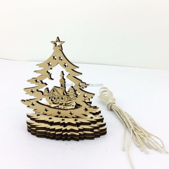 Cheap Unfinished Christmas Wood Hanging Decoration Pieces