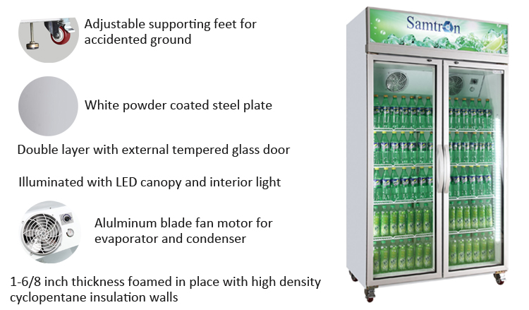 Altaqua showcase fridge cooler of 2 door glass upright vertical type for soft drink beer pepsi cola