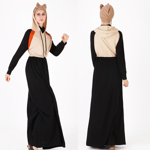 2019 new design Latest Spring Drawstring Jilbab Jersey Casual Soft Long Thobe Hooded Muslim Maxi Dress