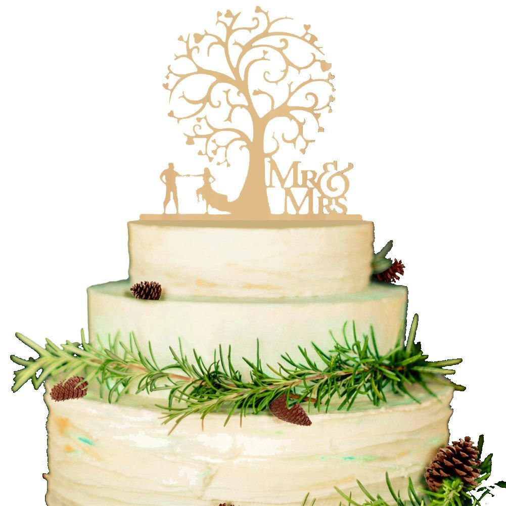 Buy Bestwoohome Wood Wedding Party Cake Topper Bride and Groom ...
