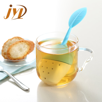 Hot Sale New Design leaf Shape Ceramic Silicone tea infuser for loose leaf
