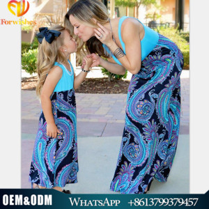 2017 latest hot sale polyester spandex chevron mother and child dress muslim mommy and me maxi dress