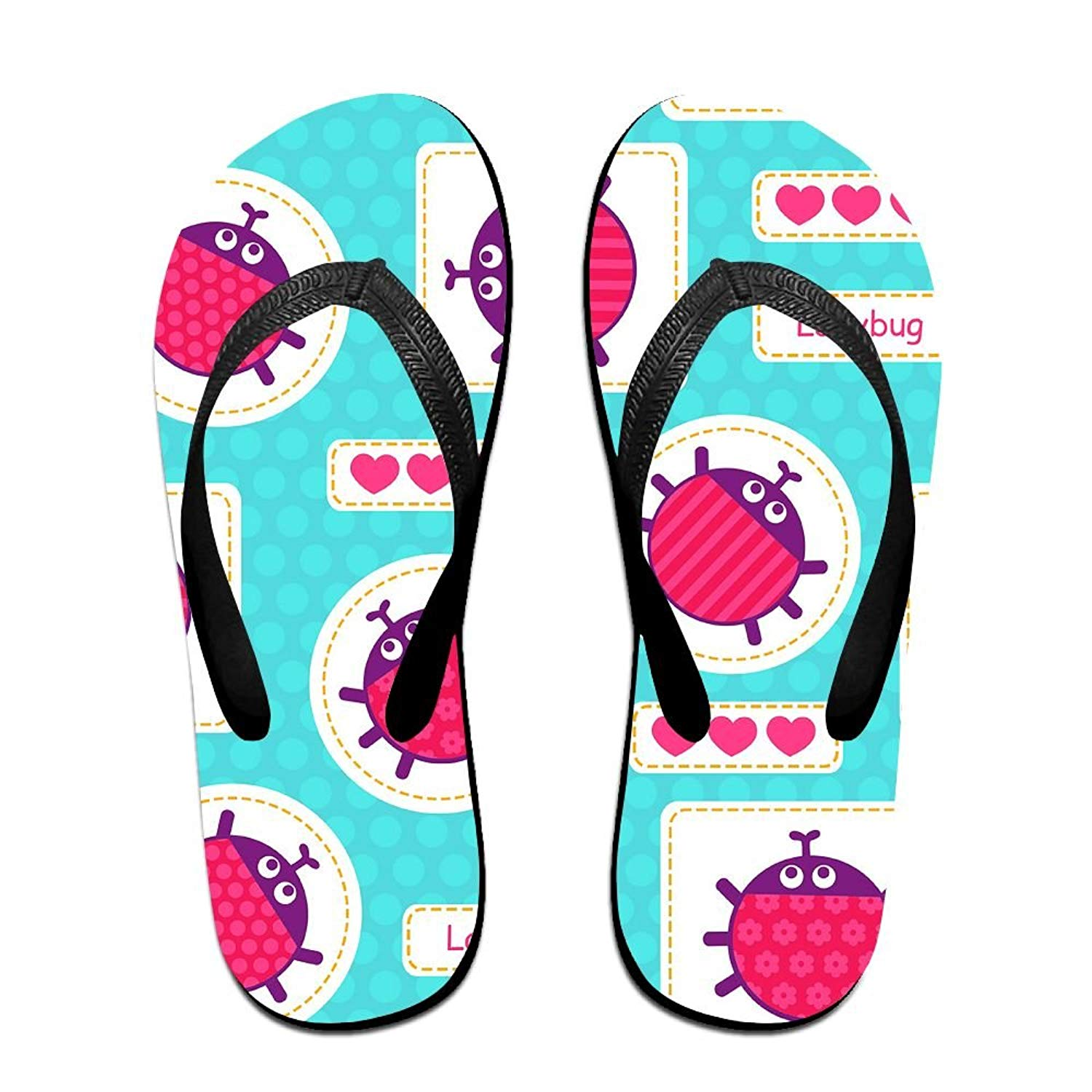 b14ed4964 Get Quotations · Summer Beach Sandals Ladybirds Pink Comfortable Flip-Flop  Bright Colors And Multiple Sizes Soft Slippers