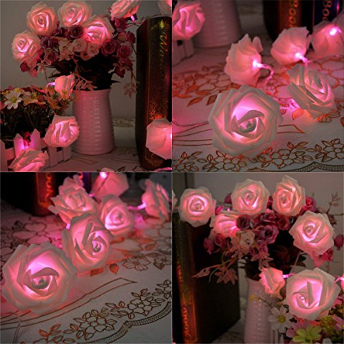 China factory 4.5V battery power foam Material red color rose flower string led light for Wedding decoration