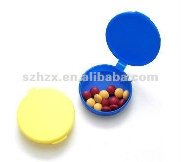 portable plastic thin round pocket pill box