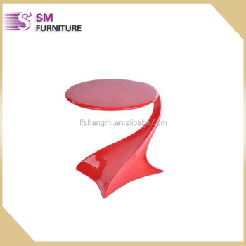 Modern Curve Shaped Red Acrylic Side Table Plexiglass Coffee Table Part 91