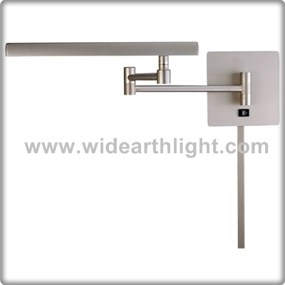 UL Approved Lighting Factory Nickel Hotel Adjustable Wall Mounted Arm Lamp With On/Off Switch W81183