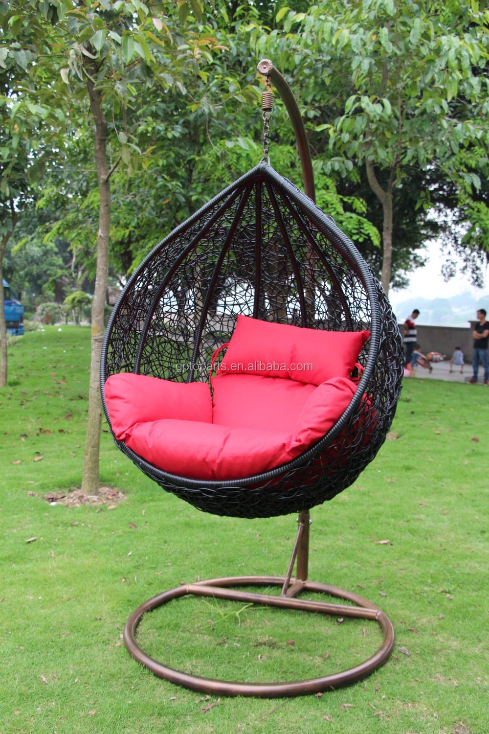 gp toparts hand made outdoor furniture rattan black hanging chair with solid stand