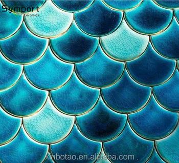 Himmelblauen Fischschuppen Mosaik Fliesen Blauen Lüfter Mosaic