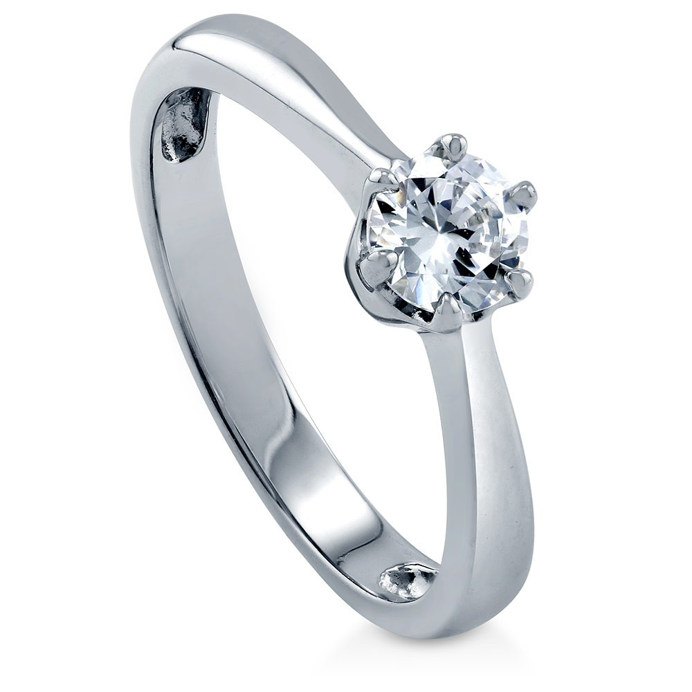 925 Sterling Silver Round saphire CZ Solitaire Ring R500413