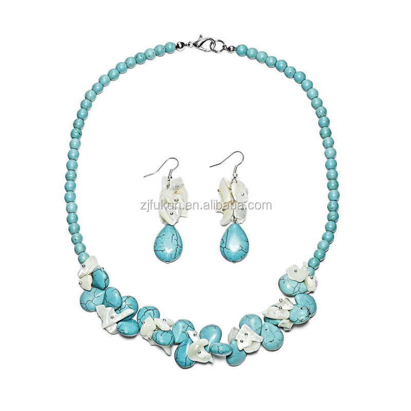 2017 hot sale turquoise shell teardrop bracelet earring necklace set statement jewelry set
