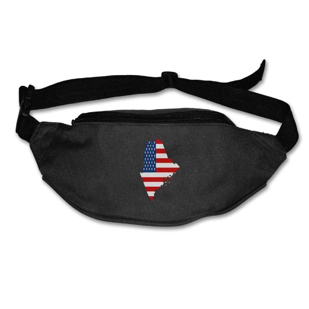 Eden Edies Maine State Map Shape The USA Flag Unisex Waist Pack Bag Belt