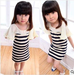 D61318A 2014 SUMMER GIRLS WOOD EAR TRUMPET SLEEVE WIDE STRIPED DRESS