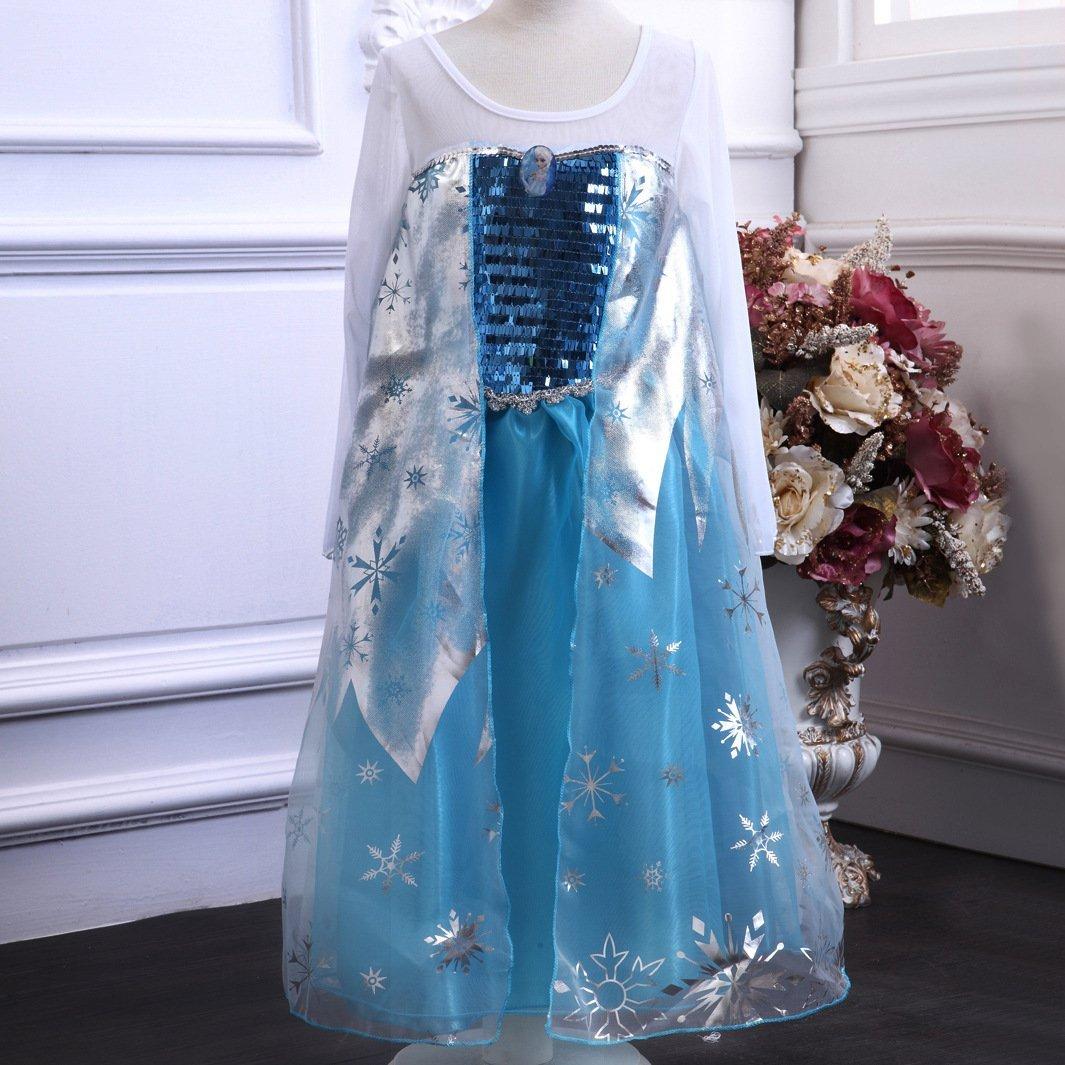 1cb9b3505 Buy OISK Girls Princess Elsa Dress Kids Cosplay Snow Queen Costumes ...