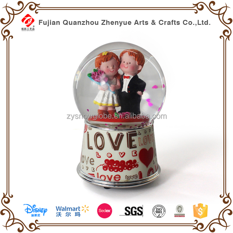 Valentine's Day Rotating Music Water Snow Decoration