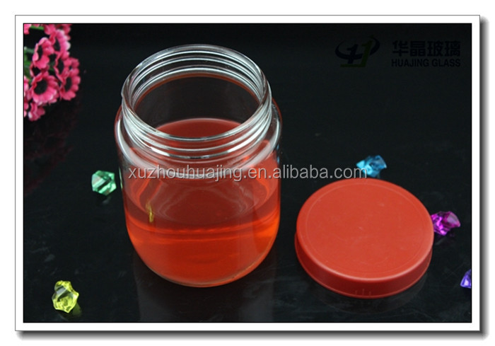 Clear round honey / candy / food / storage glass jar with glass lid