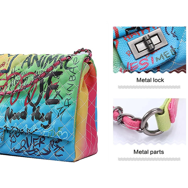 Sac A Main Femme Shoulder Big Graffiti Handbag Bags Famous Brand Lady Ladies Women Colorful Color Purse Colorful Purses Handbags