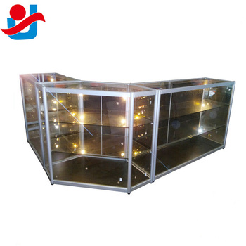 Combined Store Counter Type Display Retail Glass Counter With Sliding Mirror Doors