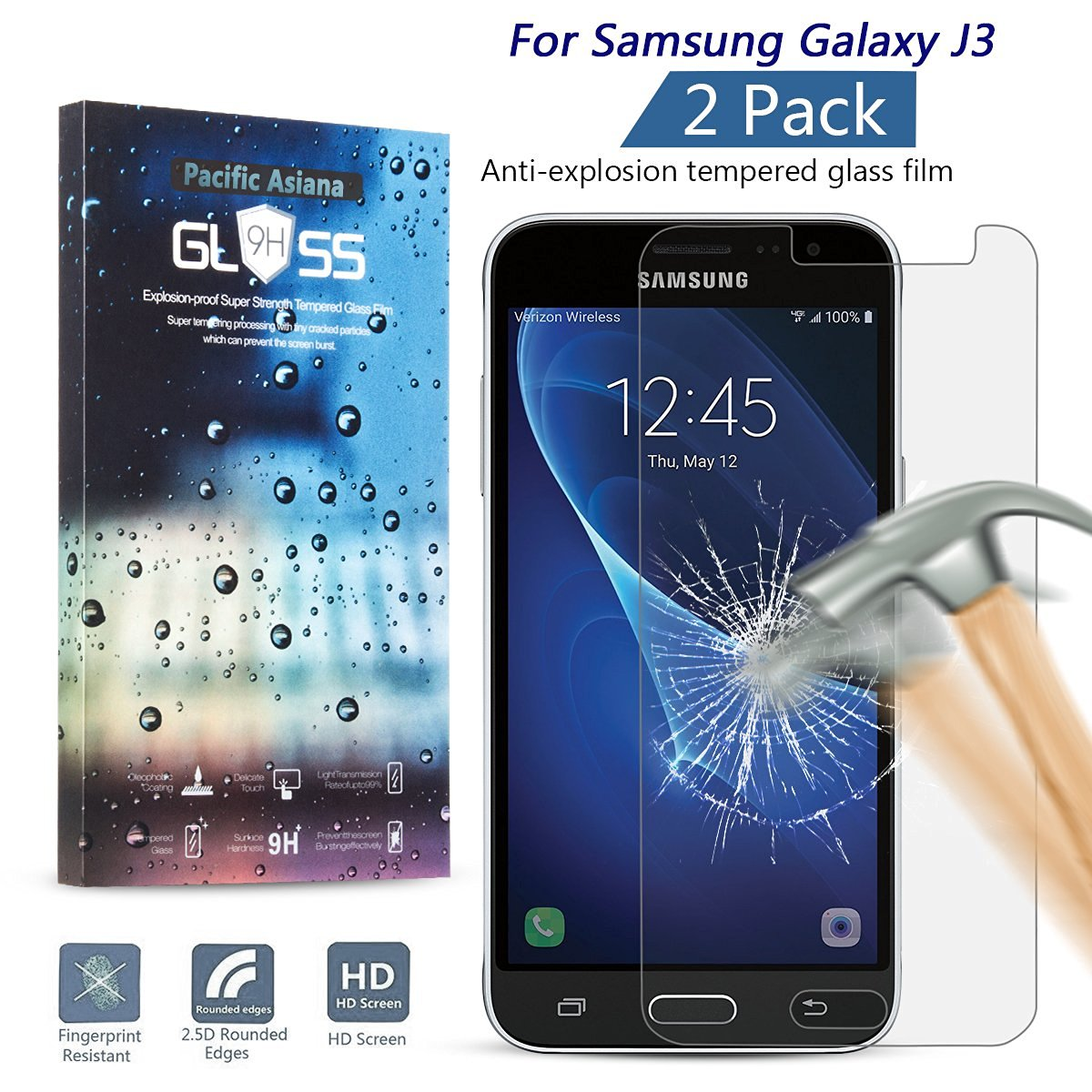 [2Pack] Galaxy J3 Screen Protector, Pacific Asiana 0.3mm (HD) Clear Ballistic [Tempered Glass] Screen Cover Film, 9H Hardness Scratchproof Anti-fingerprint Bubble Free Skin Shield for Galaxy J3 (2016)