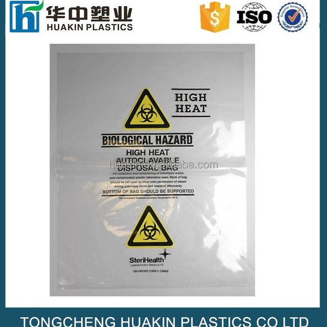 plastic poly clear biohazard waste bags clinical disposal bags