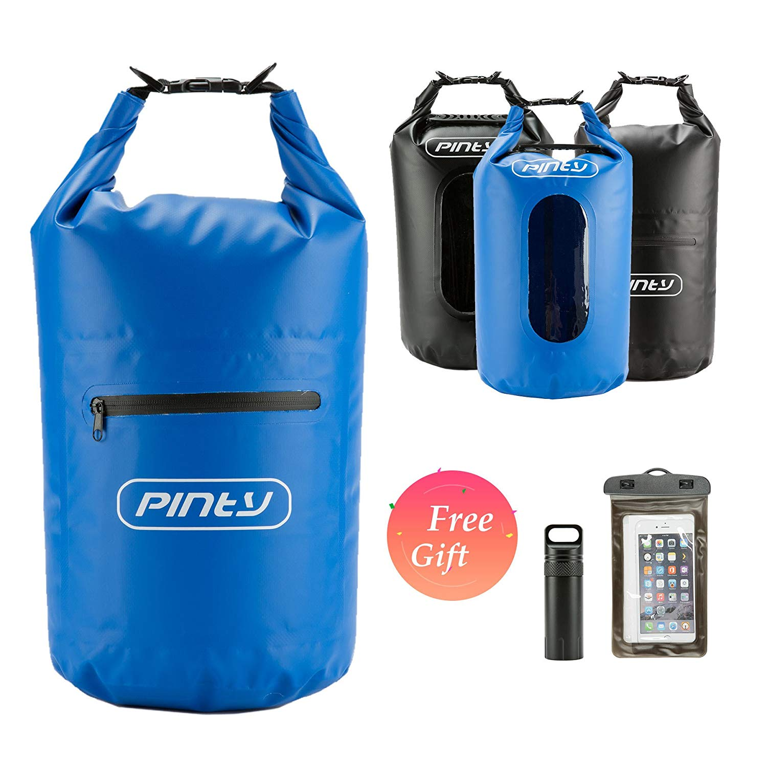 Pinty 20L Waterproof Dry Bag for Watersports, Floating Dry Sack for Kayaking, Beach, Rafting, Boating, Swimming, Camping, Fishing, Watertight Backpack with Waterproof Cellphone Bag
