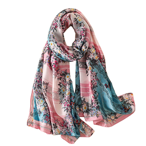 Wholesale 2018 hot sale silk satin head wrap high quality luxury brand flower print soft long women silk scarves shawl