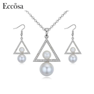 Eccosa High Quality Pearl Jewelry Set Dubai Gold Jewelry Set For Women Crystal From Swarovski