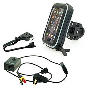 Waterproof Motorcycle Mobile Phone Mount Kit Hella / Angled Micro USB