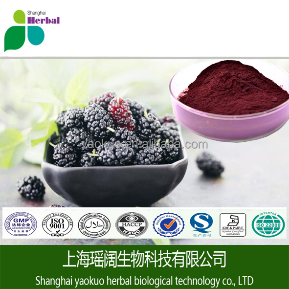 Hot selling health care product mulberry fruit extract 25% Anthocyanidin by UV