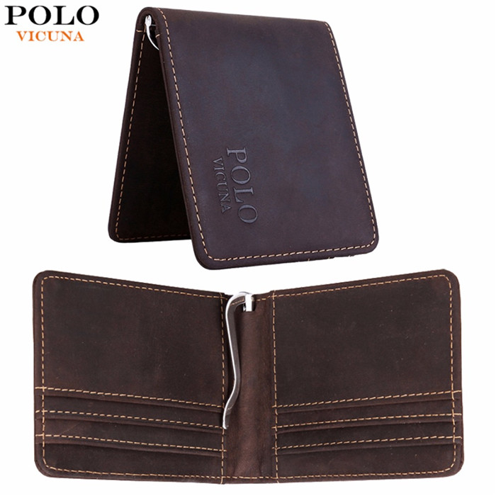 VICUNA POLO Vintage Simple Design Genuine Leather Men Money Clip <strong>Wallet</strong> Short Style Purse Men's <strong>Wallet</strong>