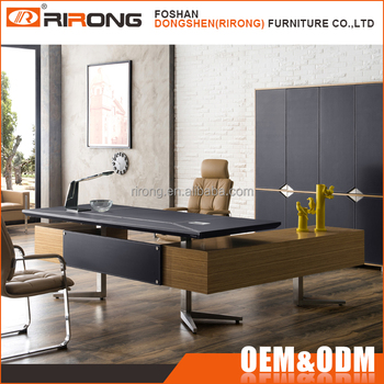 Luxury Modern Design L Shape Office Desks Leather Wooden Boss Manager  Executive Office Counter Table