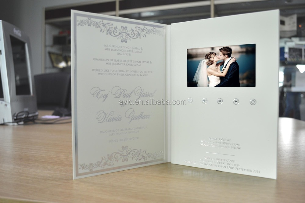 Factory Supply And High Quality Lcd Screen Wedding Invitation Card ...