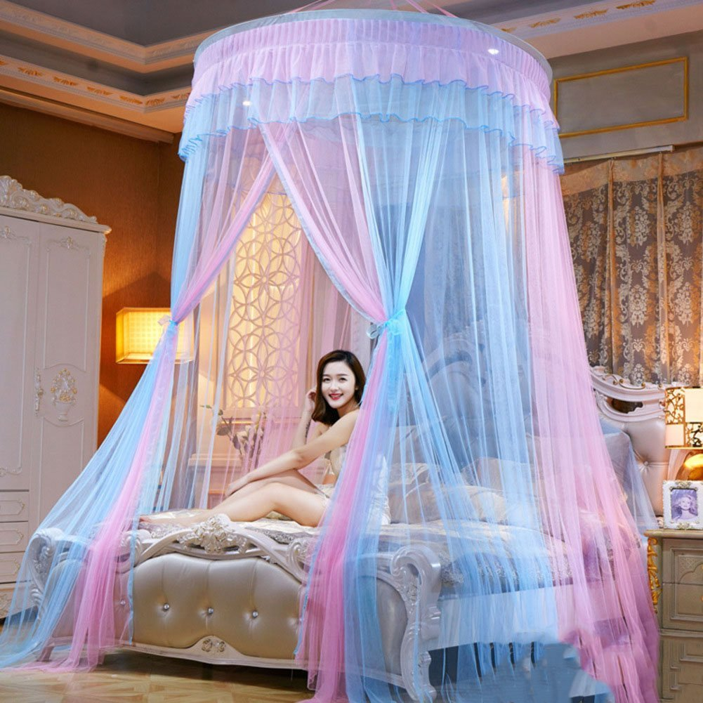 HUEHFUEGF Round dome bed canopies mosquito net,Princess bed canopy extra large for twin Queen and king size bed-C Full-size