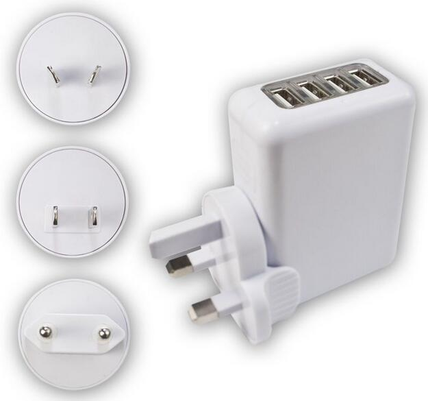 10W 4 Port USB Wall Charger AC Power Adapter with EU,AU,US,UK Plug charge for iPad 1 2 3 iPhone 5