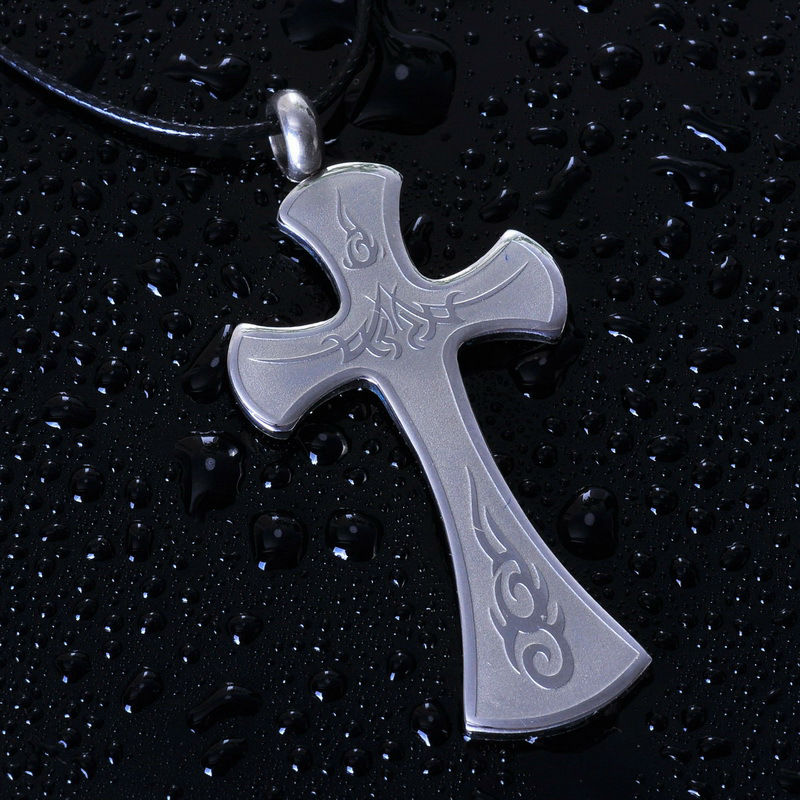 Wholesale etched tribal pattern Stainless steel large cross pendants costume jewelry(SP-0538)