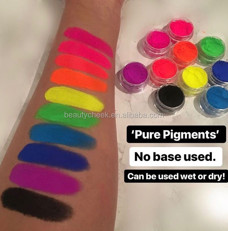 Best quality private label custom colors High pigmented Neon loose powder pigment Eyeshadow Pigments 7in1 Stack