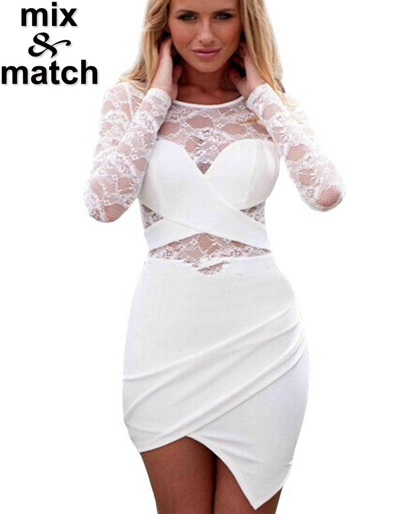 Hot Sale New Summer White Sexy Dress Long Sleeve Lace Stitching Tops Irregular Dress Cross Front Shirring Bodycon Dress DR05444