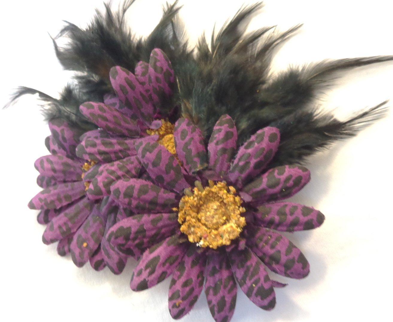 Cheap daisy flower clip art find daisy flower clip art deals on get quotations purple leopard daisy hair flower clip with feathers izmirmasajfo