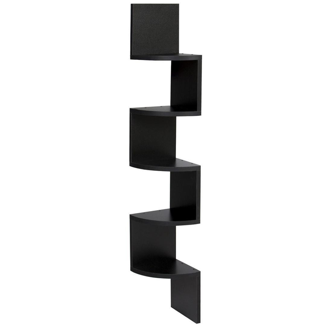 Get Quotations · Wall Shelves,Swyss Stackable 5 Tiers Corner Wall Shelf Zig  Zag Hanging Wall Shelves Corner